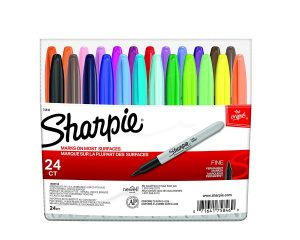 Sharpie Permanent Markers, Fine Point, Assorted Colors, 24-Count $8.98