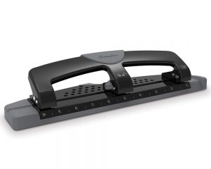 Swingline 3 Hole Punch, Hole Puncher, SmartTouch, 12 Sheet Punch Capacity, Low Force, Black/Gray (74134) $9.39