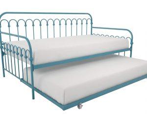 Novogratz Bright Pop Metal Bed, Adjustable Height for Under Bed Storage, Slats Included, Twin Size Frame, Blue Turquoise $159.99