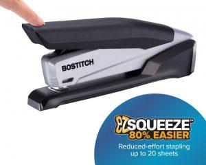 Bostitch Office Executive Stapler – 3 in 1 Stapler – One Finger, No Effort, Spring Powered Stapler, Black/Gray (INP20) $9.29