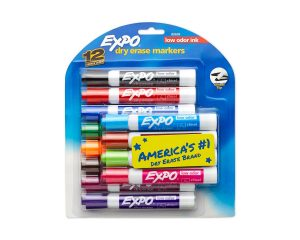EXPO Low Odor Dry Erase Markers, Chisel Tip, Assorted Colors, 12 Count $7.99