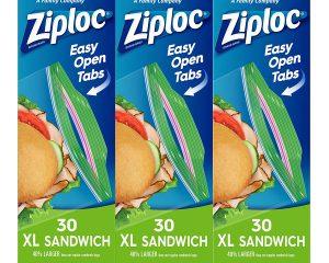 Ziploc Sandwich Bags, XL, 3 Pack, 30 Ct $4.05