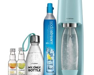 SodaStream Fizzi Sparkling Water Machine Bundle (Icy Blue), with CO2, 1/2 Liter BPA-Free My Only Bottle, and 0 Calorie Fruit Drops Flavors $70.99