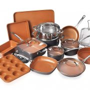 Gotham Steel 20 Piece All in One Kitchen Cookware + Bakeware Set with Nonstick Durable Ceramic Copper Coating – Includes Skillets, Stock Pots, Deep Square Fry Basket, Cookie Sheet and Baking Pans $139.99