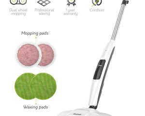 Gladwell Cordless Electric Mop – 3 in 1 Spinner, Scrubber and Waxer Quiet and Powerful Cleaner, Spin Scrubber & Buffer, Polisher for Hard Wood, Tile, Vinyl, Marble And Laminate Floor $99.99