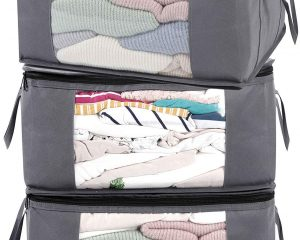 ABO Gear Storage Bins Storage Bags Closet Organizers Sweater Storage Clothes Storage Containers, 3pc Pack $15.99