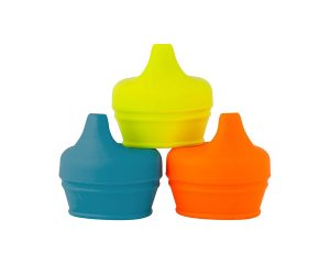 Boon Snug Silicone Sippy Lids, Blue/Orange/Green (Pack of 3) $5