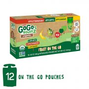 GoGo SqueeZ Organic Applesauce on The Go, Variety Pack (Apple/Banana/Strawberry), 3.2 Oz (12) $5.99