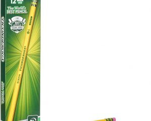 TICONDEROGA Pencils, Wood-Cased #2 HB Soft, Pre-Sharpened with Eraser, Yellow, 12-Pack (13806) $2.79