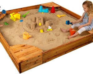 KidKraft Wooden Backyard Sandbox with Built-in Corner Seating and Mesh Cover – Honey $74.34