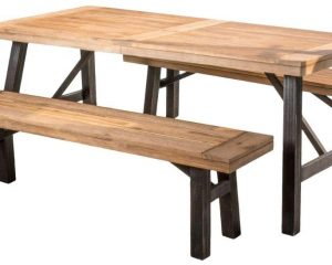 Christopher Knight Home Arlington | Acacia Wood Dining Set | in Brushed Grey, Color: Natural Grain $411.92