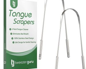 Tongue Scraper – Professional Stainless Steel Tongue Cleaner by Tweezer Guru – No Mold Buildup – Perfect Tool for Oral Hygiene – Eliminate Bad Breath with Your Very Own Tongue Sweeper Today (2-Pack) $3.19