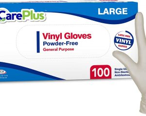 Care Plus [100 Count] Disposable Plastic Vinyl Clear Large Gloves $10.99