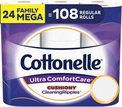 Papel higiênico macio Cottonelle Ultra ComfortCare com limpeza almofadadaRipples, 24 Mega Rolls da família $ 25.18 2