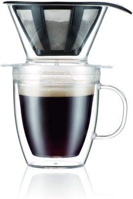Conjunto Bodum Pour Over Coffee Dripper com caneca de parede dupla e filtro permanente, 12 onças, transparente $ 9,99 2